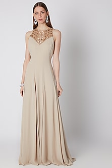 Beige Embroidered Panelled Dress by Mirroir