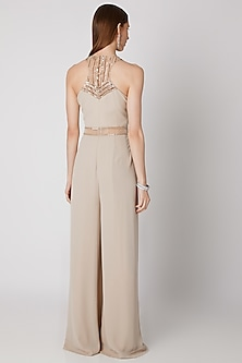 Beige Embroidered Pleated Jumpsuit by Mirroir