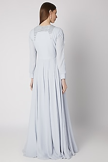 Powder Blue Embroidered Gown by Mirroir