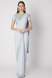 Powder Blue Embroidered Saree Set by Mirroir