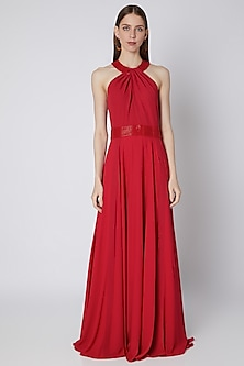 Red Embroidered Pleated Gown by Mirroir
