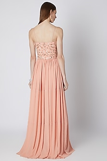 Peach Embroidered Royal Georgette Dress by Mirroir