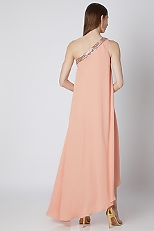 Peach Embroidered Off Shoulder Dress by Mirroir