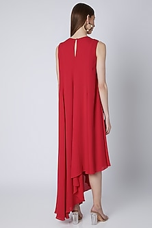 Red Embroidered Panelled Dress by Mirroir