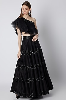 Black Embroidered Crop Top With Lehenga Skirt by Mirroir