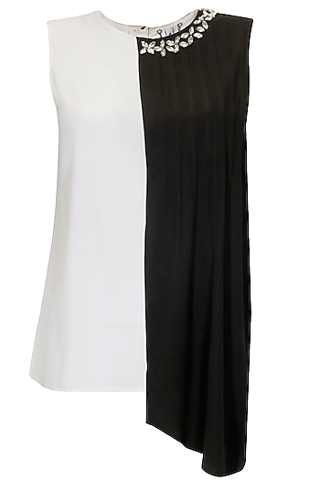 Black and white embellished double layered top by Meraki by Aanchal Kohli