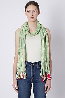 Mint Green Printed Crushed Scarf by Masaba