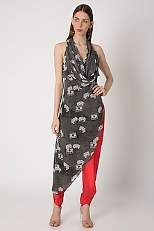Grey Printed Cowl Top With Red Dhoti Pants by Masaba X Rhea Kapoor