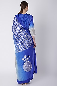 Egyptian Blue Foil Printed & Embroidered Saree Set by Masaba