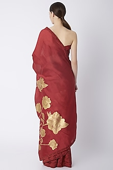 Scarlet Red Foil Printed & Embroidered Saree Set by Masaba