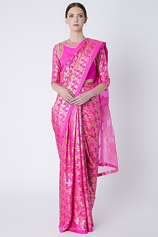 Cabaret Pink Foil Printed & Embroidered Saree Set by Masaba