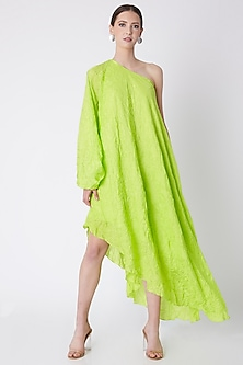 Green One Shoulder Crushed Dress by Masaba