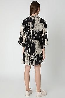 Black & Ivory Digital Printed Mini Dress With Bag by Masaba