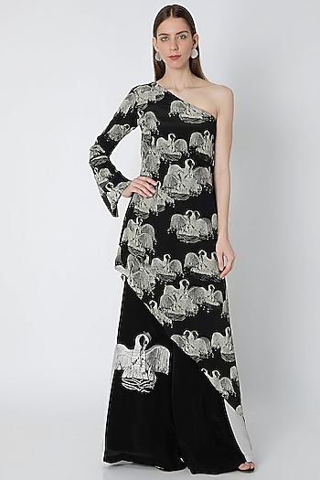 Black & Ivory Digital Printed Tunic Set With Bag by Masaba