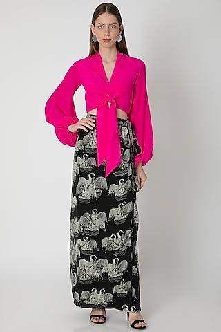 Pink Top With Black Digital Printed Skirt & Bag by Masaba