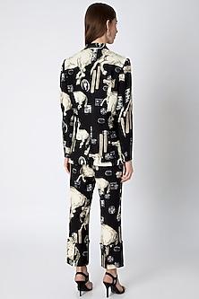 Black & Ivory Digital Printed Blazer Set With Bag by Masaba