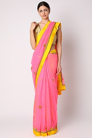 Pink Embroidered Silk Saree by Masaba