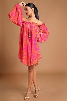 Pink Printed Off Shoulder Dress by Masaba
