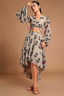 Tan Printed High-Low Dress by Masaba