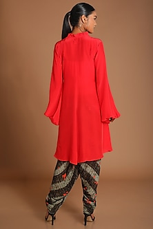 Red Top With Printed Dhoti by Masaba