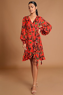 Red Printed Wrap Dress by Masaba
