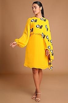 Yellow Printed Cape Dress by Masaba