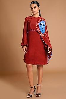 Maroon Printed Cape Dress by Masaba