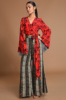 Red Printed Wrap Top With Brown Pants by Masaba