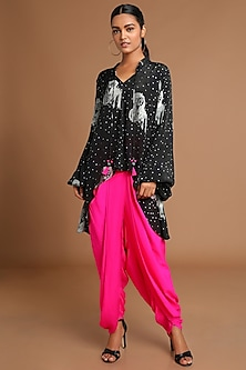 Black Printed Top WIth Hot Pink Dhoti Pants by Masaba
