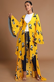 Yellow Printed High-Low Jacket by Masaba