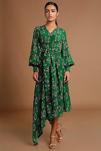 Green Printed Asymmetric Dress by Masaba