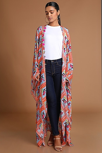Ice Blue Printed Kaftan Jacket by Masaba