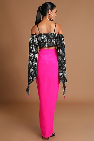 Black Printed Top With Hot Pink Skirt by Masaba