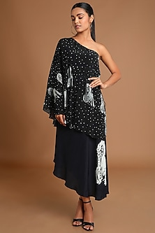 Black Printed One Shoulder Dress by Masaba