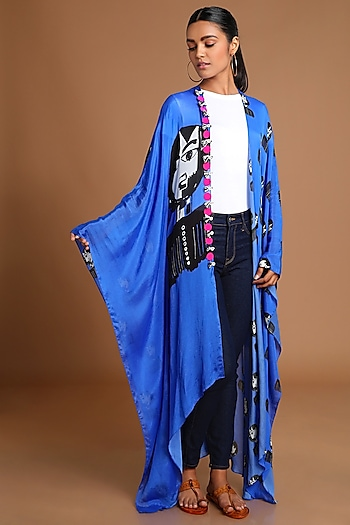 Electric Blue Printed Kaftan Jacket by Masaba