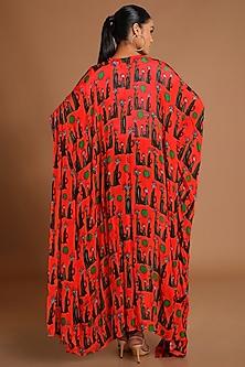 Red Printed Kaftan Jacket by Masaba
