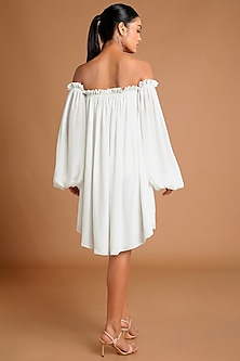 Ivory Printed Off Shoulder Dress by Masaba