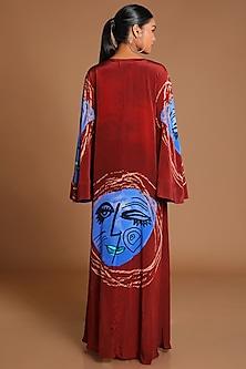 Maroon Printed High-Low Jacket by Masaba