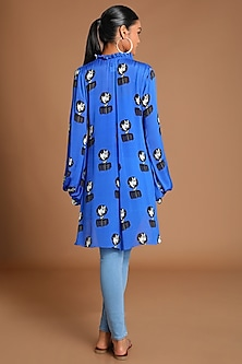 Electric Blue Printed High-Low Top by Masaba