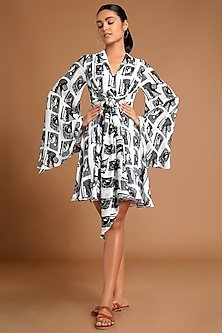 White & Black Printed Mini Dress by Masaba