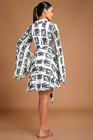 White & Black Printed Mini Dress by Masaba