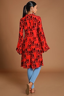 Red Printed High-Low Top by Masaba