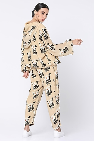 Ivory Floral Digital Printed Trackee Set by Masaba