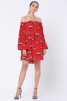 Red Printed Off Shoulder Dress by Masaba-MASABA