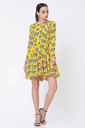 Yellow Printed Dress With Patch Pockets by Masaba