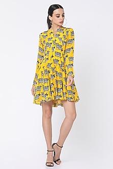 Yellow Printed Dress With Patch Pockets by Masaba-MASABA