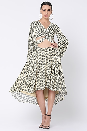 Ivory Printed Dress With Gathered Sleeves by Masaba