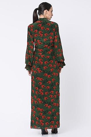 Green Printed & Draped Dress by Masaba