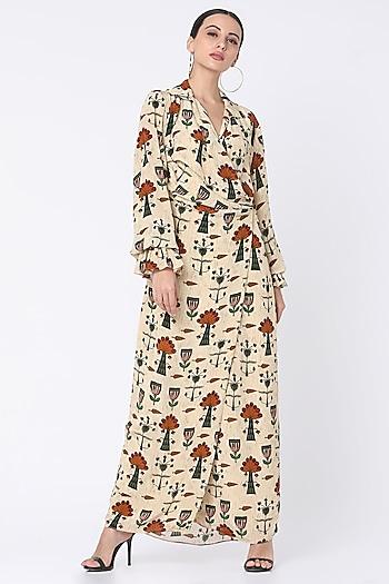 Beige Printed & Draped Dress by Masaba