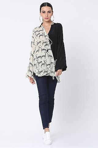 Ivory Printed Wrap Shirt by Masaba